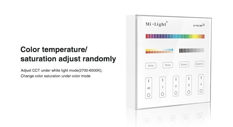 Mi-Light 4 zone RGB+CCT smart panel remote controller B4 colour temperature saturation adjustment