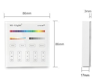 Mi-Light 4 zone RGB+CCT smart panel remote controller B4 product size dimensions technical picture manual
