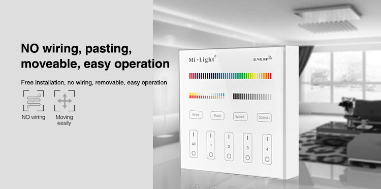 Mi-Light 4 zone RGB+CCT smart panel remote controller B4 wireless moving easly