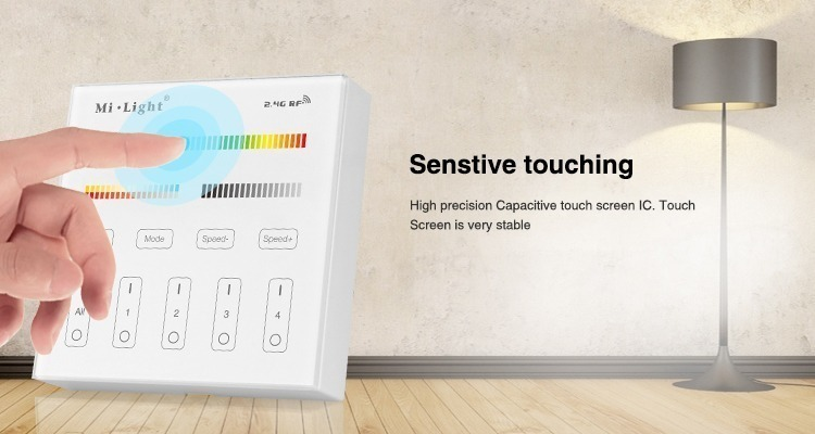 Mi-Light 4 zone RGB+CCT smart panel remote controller B4 sensitive touch