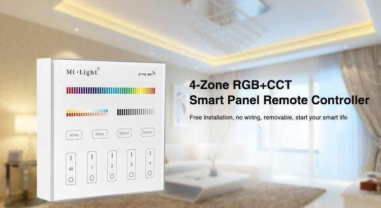 Mi-Light 4 zone RGB+CCT smart panel remote controller B4 free installation wireless wall panel