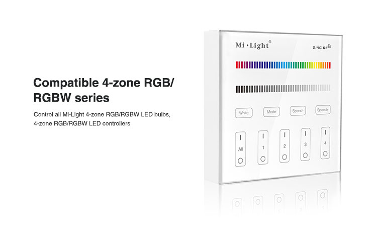 compatible with 4-zone RGB and RGBW series LED controller