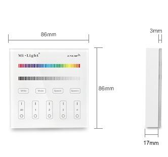 Mi-Light 4-zone RGB/RGBW smart panel B3 size product dimensions