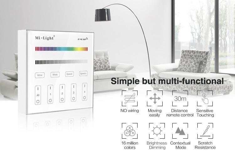 simple but multi-functional Mi-Light 4-zone RGB/RGBW smart panel B3