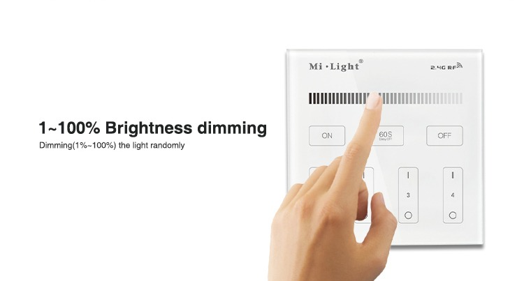 1-100% brightness dimming dim the lights as much as you want or need