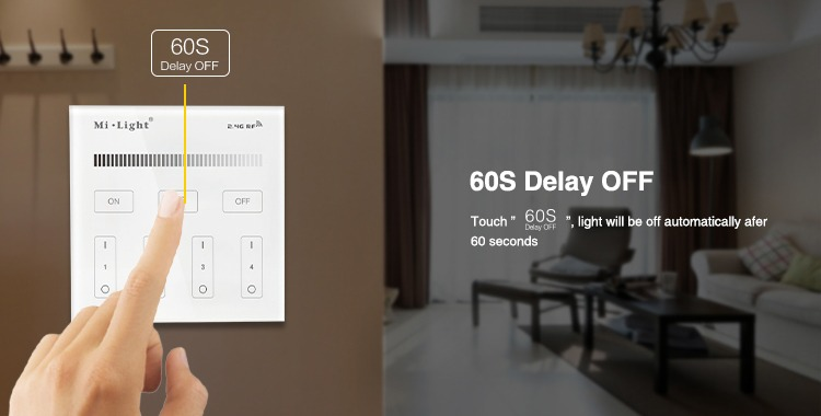 60 seconds delay switch off the lights with a delay go to bed whilst the lights are still on