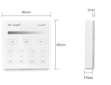 Mi-Light 4-zone brightness dimming smart panel B1 size product dimensions technical picture