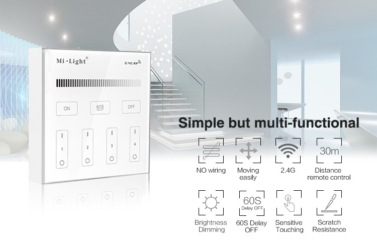 simple but multi-funcional brightness dimming wall panel smart lighting milight battery operated