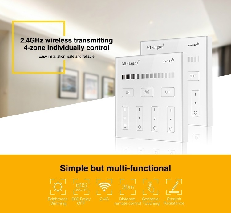 simple but multi-functional wall panel remote controller cheaper than philips osram lifx