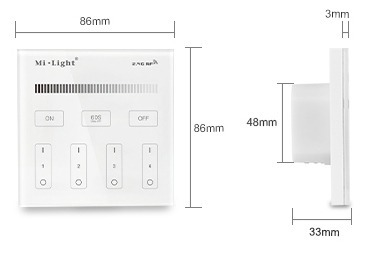 Mi-Light 4-zone brightness dimming smart panel remote controller T1 - size technical picture product dimensions