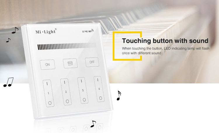touching buttons with sound music remote controller white and black