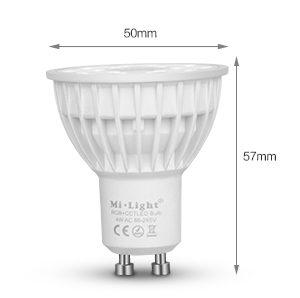 Mi-Light 4W GU10 RGB+CCT LED spotlight FUT103 size dimensions