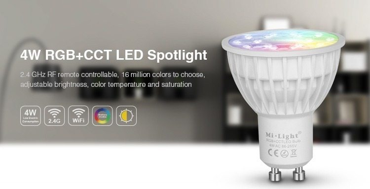 4W RGB+CCT LED spotlight 2.4GHz RF remote controllable 16 million colours WiFi