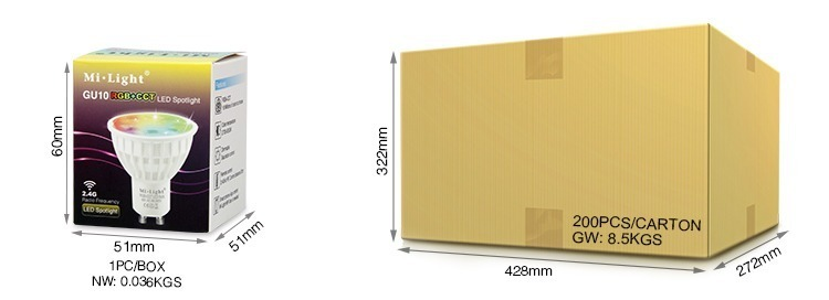 Mi-Light 4W GU10 RGB+CCT LED spotlight FUT103 packaging retail box wholesale cardboard pack