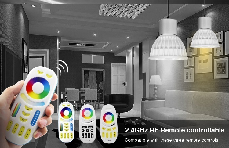 2.4GHz RF remote controllable compatible with Mi-Light RGB+CCT remotes