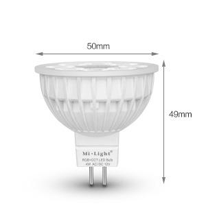 Mi-Light 4W MR16 RGB+CCT LED spotlight FUT104 size dimensions