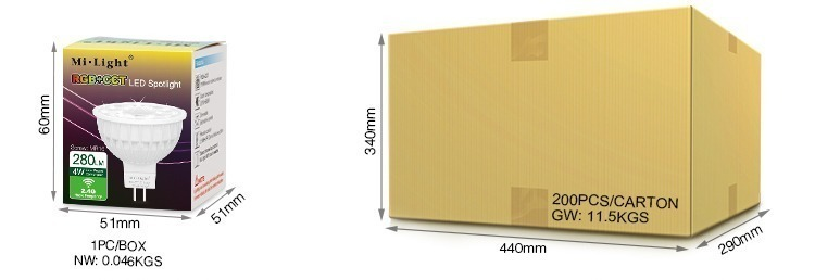 Mi-Light 4W MR16 RGB+CCT LED spotlight FUT104 smart LED lamp retail box cardboard packaging logistics shipping delivery