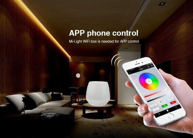 A hand holding a remote control, the text says: APP phone control Mi-Light WiFi box is needed for APP control