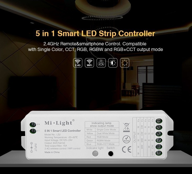 5 in 1 Smart LED Striptontrolle 2.4GHz Remote&smartphone Control. Compatible with Single color, CCT RGB, BW and RGB+CCT output mode Mi .Light 5 IN 1 smart LED Controller -20-CCC 24G in China Indicating lamp show output mode light Switch