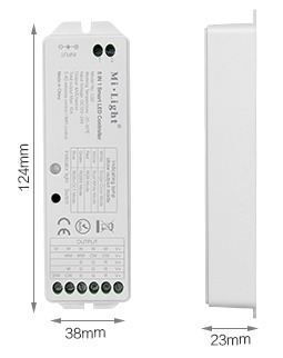 Mi-Light 5 in 1 smart LED strip controller LS2 size product dimensions technical picture