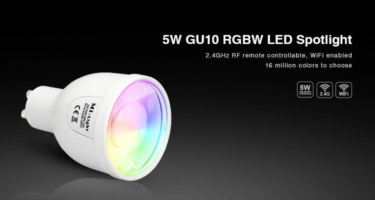 Mi-Light 5W GU10 RGBW LED spotlight FUT018 cold white product features