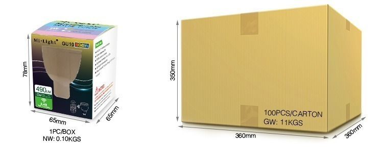 Mi-Light 5W GU10 RGBW LED spotlight FUT018 cold white retail and wholesale packaging cardboard box