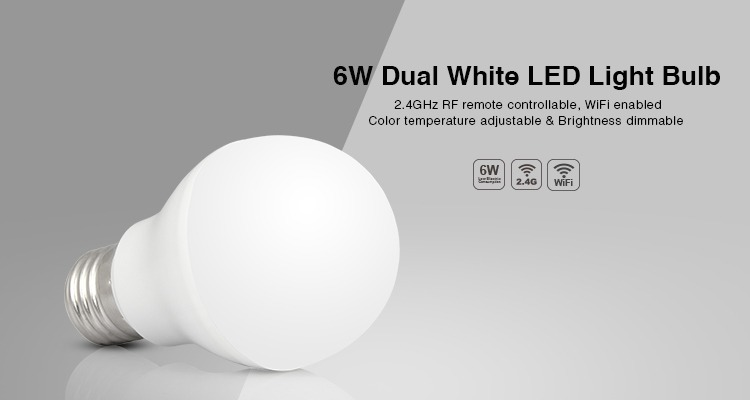 6W dual white LED light bulb E27 big thread RF remote controlled