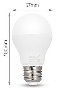 Mi-Light 6W dual white LED light bulb FUT017 size product dimensions E27 bulb diameter A57