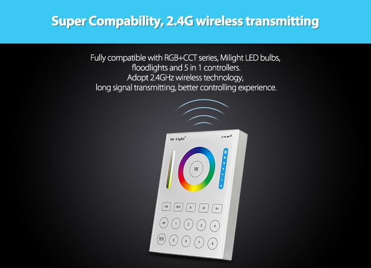 super compatibility 2.4GHz wireless control transmitting WiFi RGB+CCT controller