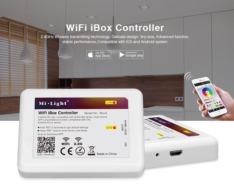 Mi-Light WiFi controller iBox2 2.4GHz wireless transmiting technology for iOS and Android devices