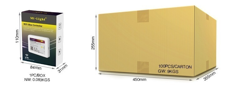 Mi-Light WiFi controller iBox2 retail packaging LED lights hot product wholesale cardboard box logistic transport