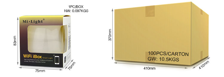 Mi-Light WiFi iBox smart light iBox1 retail colour box wholesale cardboard packaging logistic transport delivery shipping size
