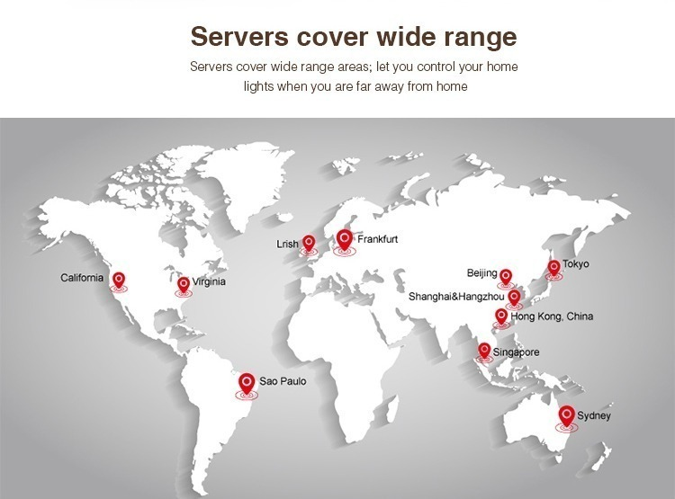 servers cover wide range let you control the lights when you are far away London Manchester Coventry Bristol Poland Spain Itally Australia United Kingdom
