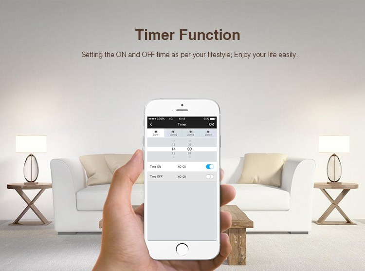 Timer function setting the on and off times as per your lifestyle smart LED lighting security feature