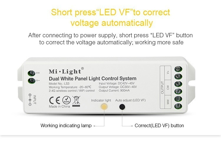 press LED VF to correct voltage automaticly after connecting to power supply LED panel controllers