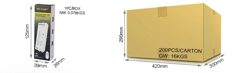 Mi-Light dual white panel light control system LS3 packaging retail and wholesale box product size and weight
