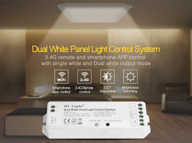 dual white panel light control system 2.4GHz remote and smartphone app control LS3