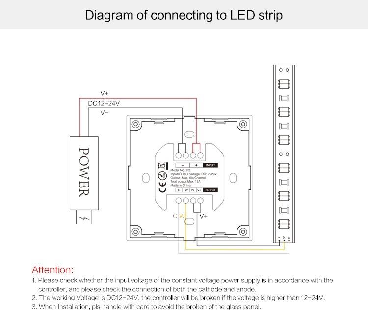 Mi-Light smart panel controller colour temperature P2 connection