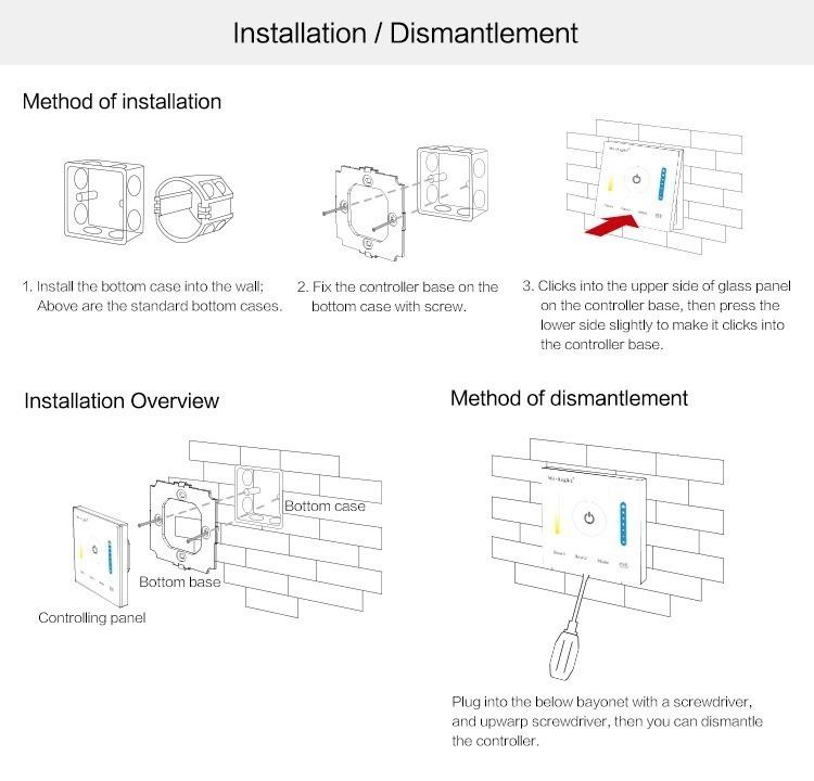Mi-Light smart panel controller colour temperature P2 installation in wall panel