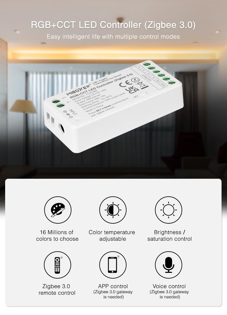 RGB+CCT LED strip controller works with Zigbee 3.0 Mi-Light