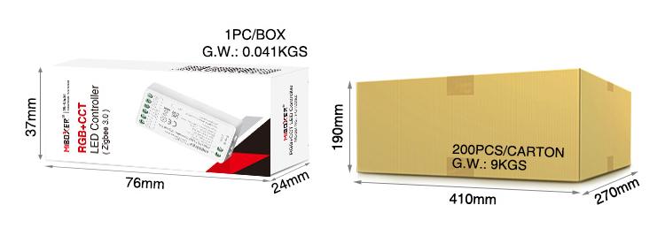 MiBoxer RGB+CCT LED controller (Zigbee 3.0) FUT039Z retail packaging wholesale box