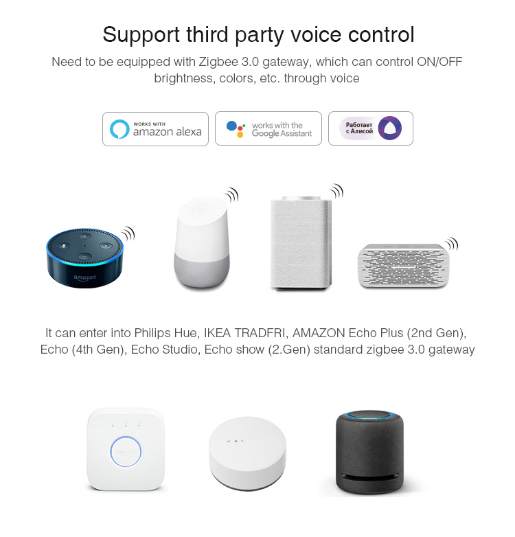 MiBoxer RGB+CCT LED controller (Zigbee 3.0) FUT039Z third party voice control Alexa Google Assistant