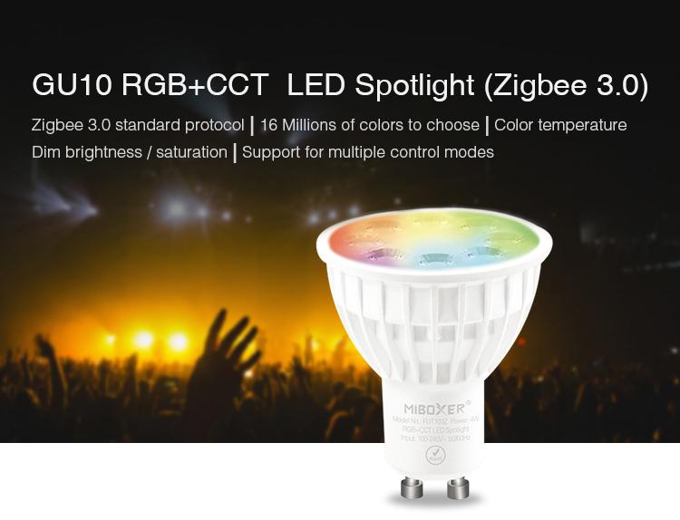 MiBoxer 4W GU10 RGB+CCT LED spotlight Zigbee 3.0 Tuya Smart FUT103Z