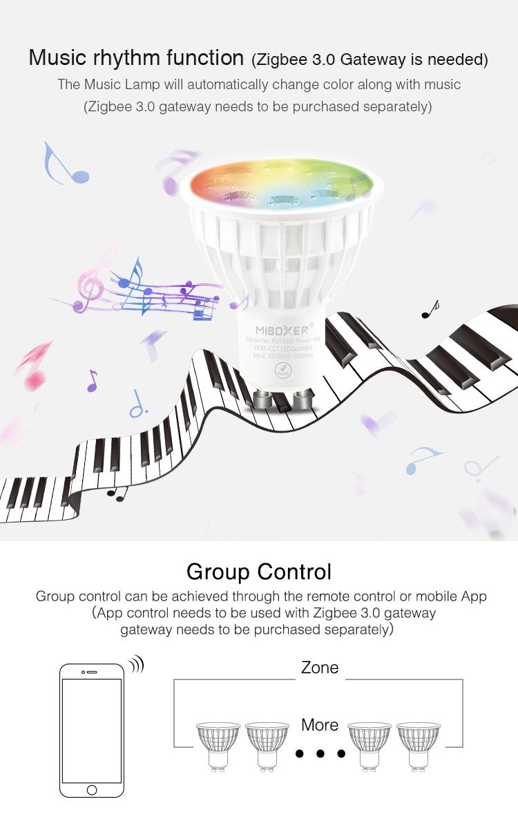 Zigbee smart light bulb music enabled