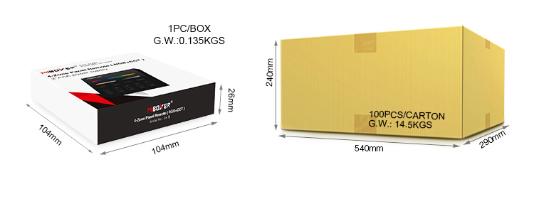 UK supplier MiBoxer black 4-zone RGB+CCT panel remote B4-B wholesale orders next day delivery