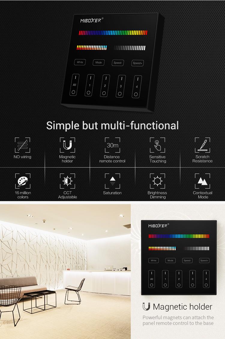 no wiring magnetic holder 30m range sensitive touch scratch resistance CCT adjustable