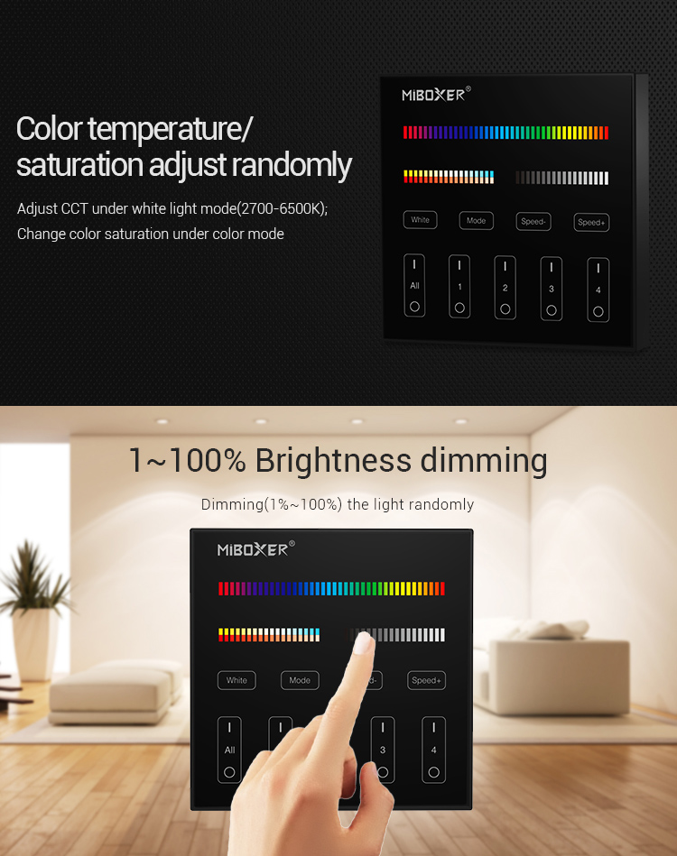 black wall panel colour temperature and saturation adjustable RGBCCT