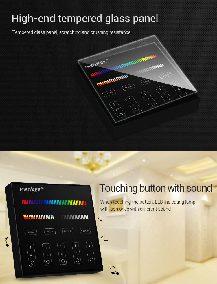 lighting wall panel battery-powered in black colour