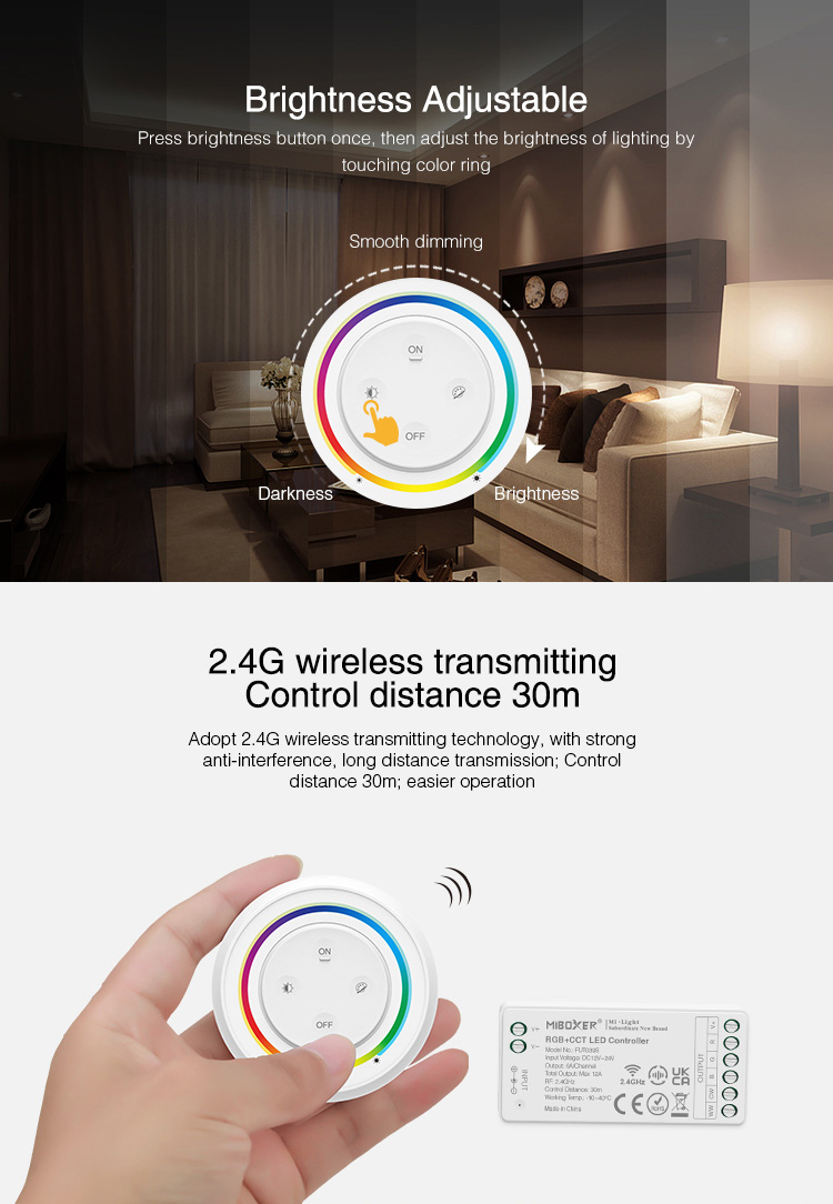 2.4GHz radio control for multicolour LED strips
