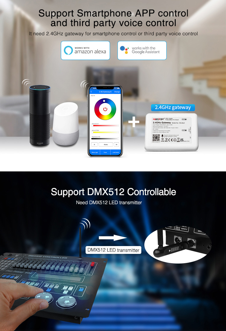 LED lighting strip controller compatible with voice control